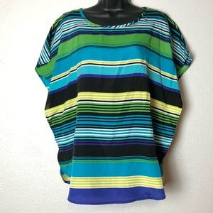 COMO Black batwing shirt blouse blue striped Sz M